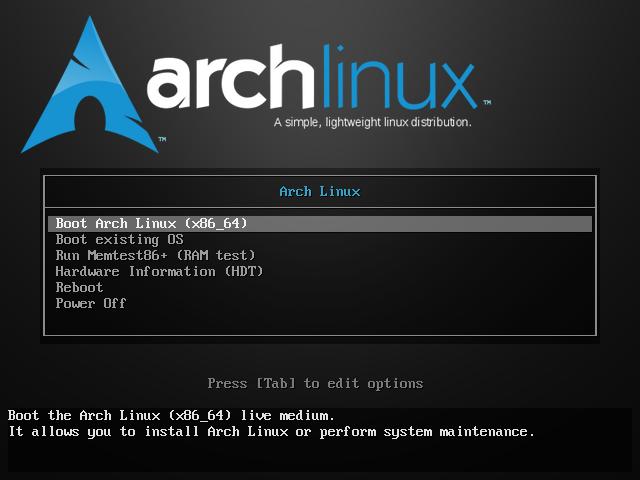 Меню загрузки archlinux