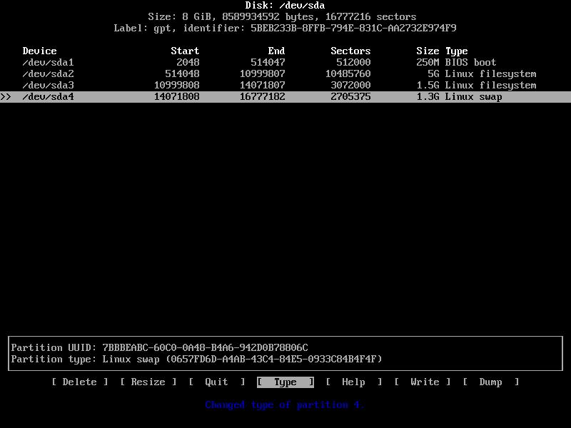 конечная разметка диска archlinux