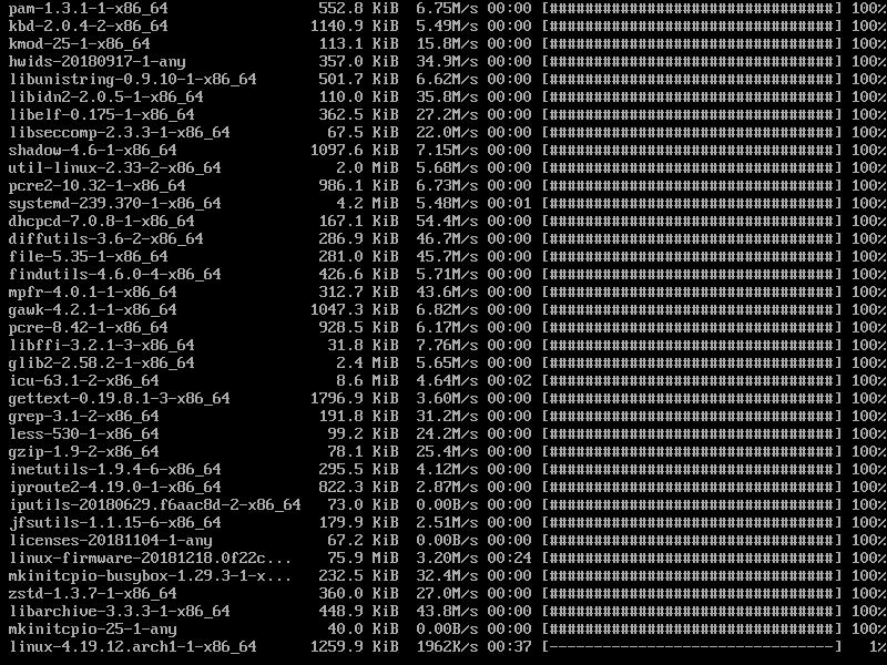 Установка базовой системы archlinux