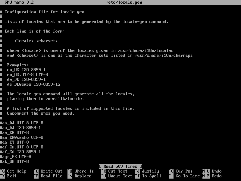 файл локалей archlinux