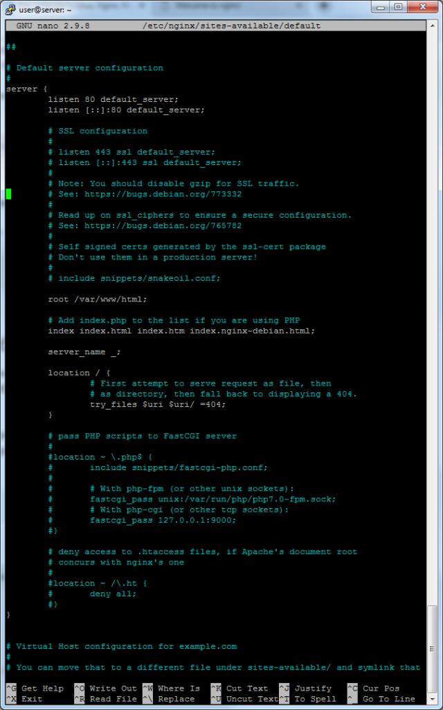 стандартный серверный блок nginx