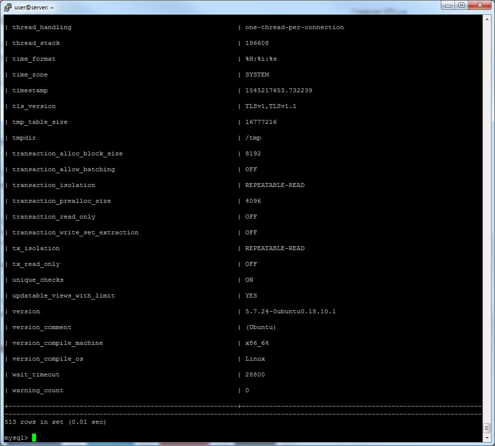 mysql info ubuntu 18.10
